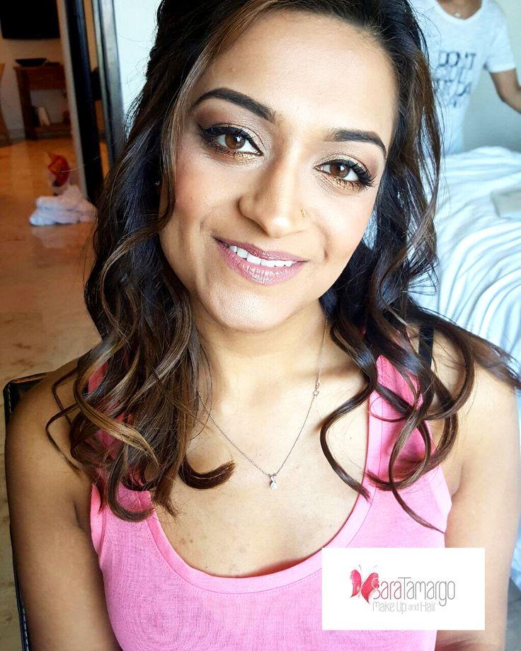 Indian makeup girl, mahndi party, makeup for brown eyes. curls