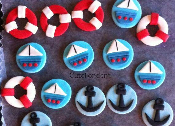 12 toppers cupcake de Fondant náutica