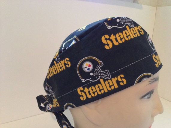 Mens Tie Back Scrub Hat Pittsburg Steelers Black by KYscrubhats, $10.00