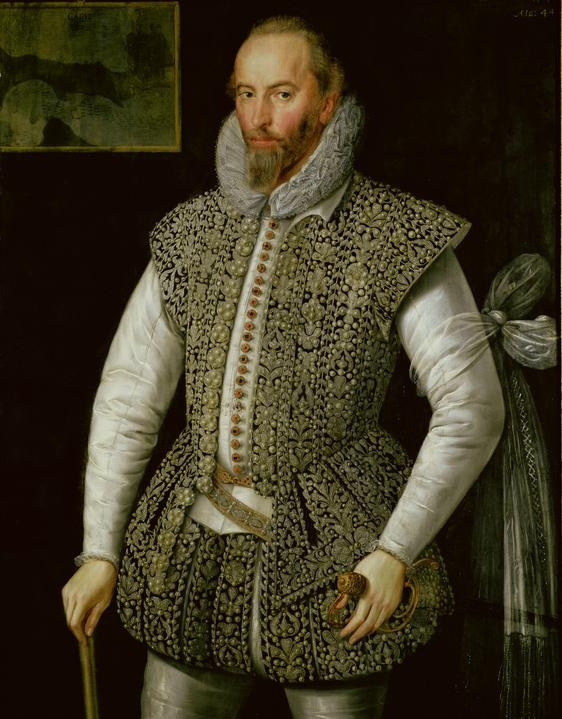 Sir Walter Raleigh – by William Segar, c.1598.