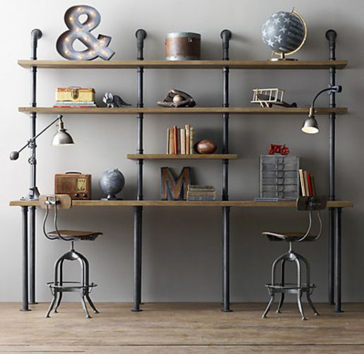 Custom Vintage Industrial Scaffold Gas Pipe Industrial Desk / Shelving Unit | Business, Office & Industrial, Office Equipment & Supplies, Office Furniture | eBay!