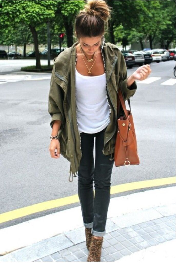 Love these boots. Skinny jeans, white tshirt kaki jacket, messy top knot