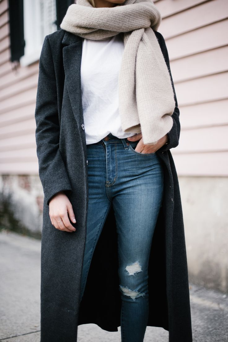 Bundled Up charcoal long wool coat dark grey white crew neck tee shirt skinny denim jeans black pointed loafers forever 21 menswear minimalist blogger winter street style // Charleston Fashion Blogger Dannon Like The Yogurt