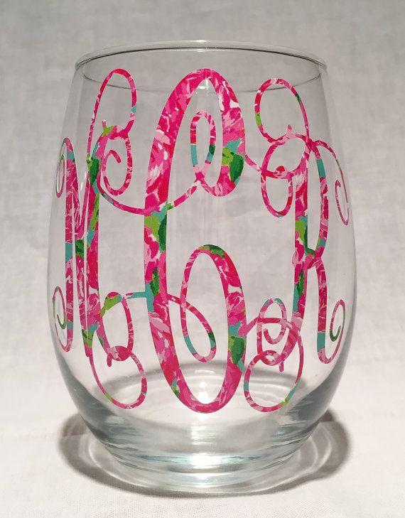Lilly Pulitzer Vinyl Monogram Stemless Wine Glass, Monogram Wine Glass, Outdoor Vinyl Monogram, Wine Decal, Monogram Decal, 21st Birthday