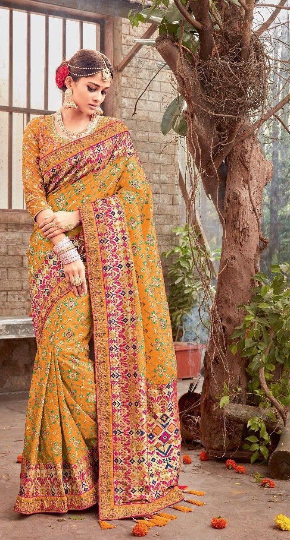 7dbfb6c9740ce  yellow  embroidered  banarasi  pure  silk  saree