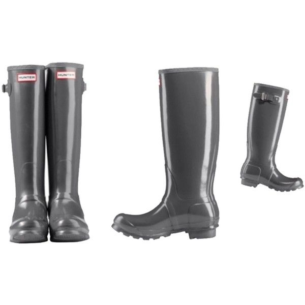 Pre-owned Graphite Gray Boots ($143) ❤ liked on Polyvore featuring shoes, boots, graphite gray, gray boots, grey rain boots, waterproof wellington boots, tall grey boots and rubber boots