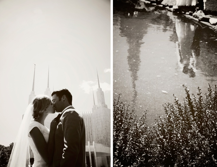 Washington DC LDS Temple Wedding Love the reflection in the water!