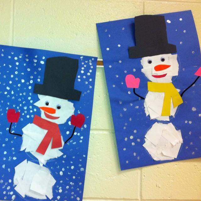 Kindergarten- Ripped Paper Snowman (art teacher: v. giannetto)