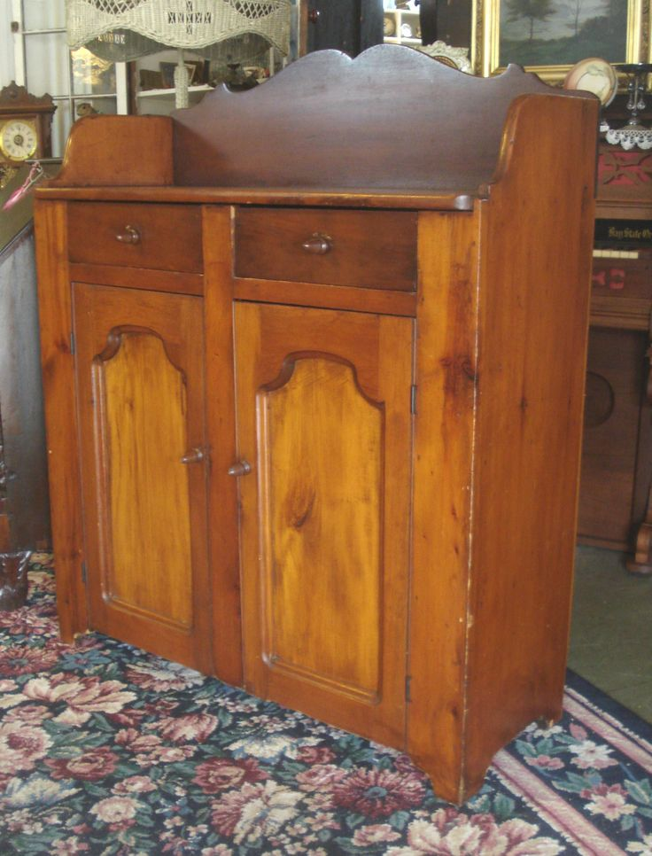 Antique 1860's Primitive Farm Made Heart Pine Jelly Cupboard with Scrolled  Back ...~ - 73 Best Jelly Cupboards And Pie Safes Images On Pinterest