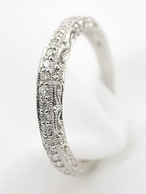 Filigree and Diamond Antique Style Wedding Band