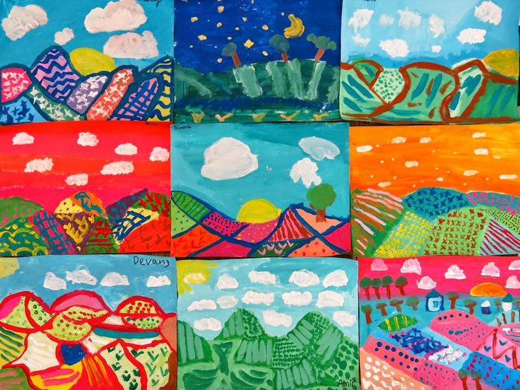 In the Art Room: Fourth Grade Color-Mixing Landscapes