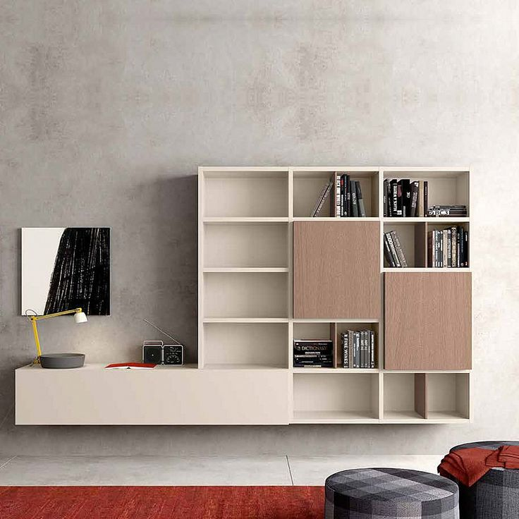Contemporary wall mounted Media unit 'Brown' by Morassutti