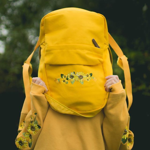 """I heckin love sunflowers  Backpack and hoodie from @kokopie_shop and you can use the code """"neon"""" for $$ off your purchase there"""