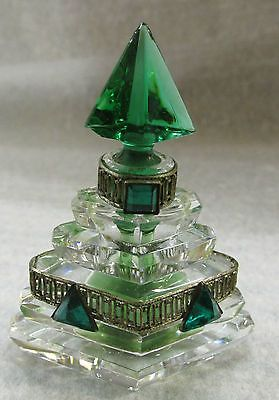Vtg Czech Miniature Emerald Glass Crystal Brass Filagre Perfume Bottle in Collectibles, Vanity, Perfume & Shaving, Perfumes | eBay