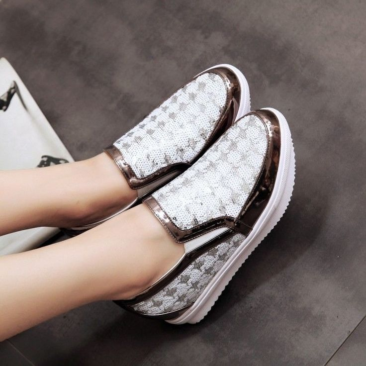 Splice Sequins Round Toe Casual Women's Creepers Shoes Sneakers Slip On Size 7 8
