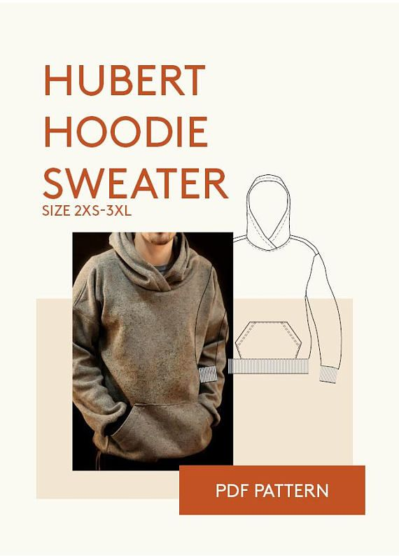Mens PDF sewing patterns|men's digital pdf hoodie pattern|mens digital hoodie PDF pattern for sewing|sweater PDF sewing pattern tutorial #ad
