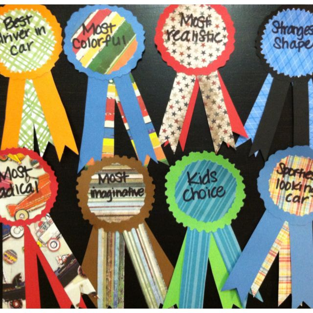 Award ribbons I made for my son's Pinewood Derby for Cub Scouts