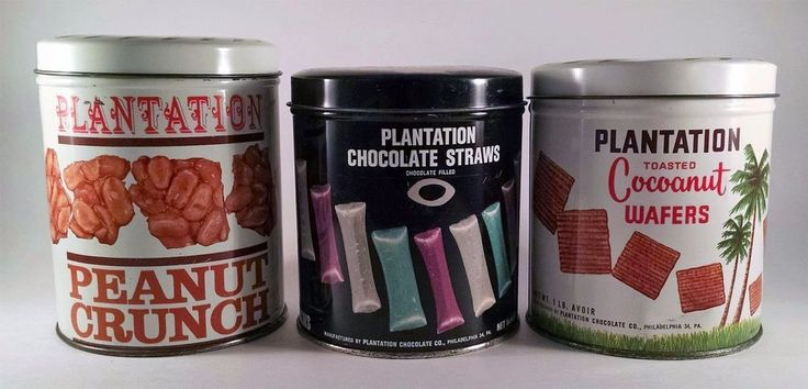 Lot Of 3 Plantation Tins Cocoanut Chocolate Straws Peanut Crunch Vintage Cans