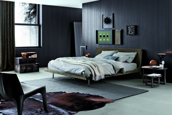 Poliform|Varenna_winter home_Java bed in spessart oak, headboard with removable cover.