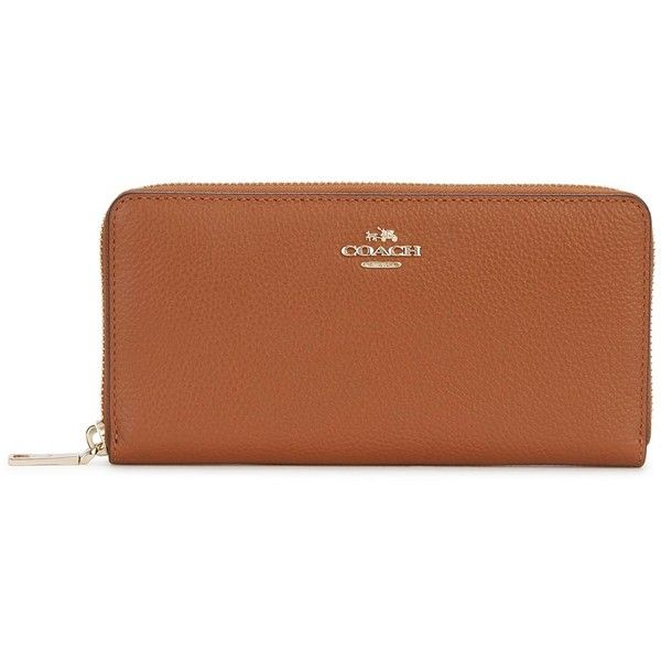Womens Wallets Coach Accordian Tawny Leather Wallet ($255) ❤ liked on Polyvore featuring bags, wallets, coach wallet, credit card holder wallet, coin wallet, brown wallet and zipper wallet