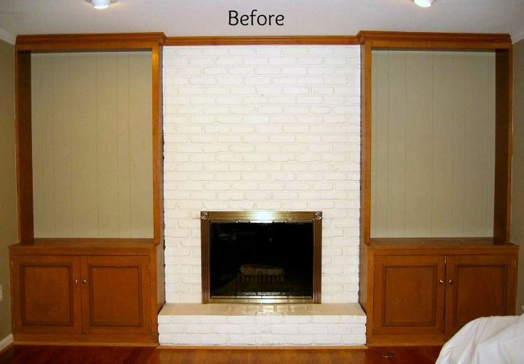 Makeover of painted brick fireplace and wood bookcases