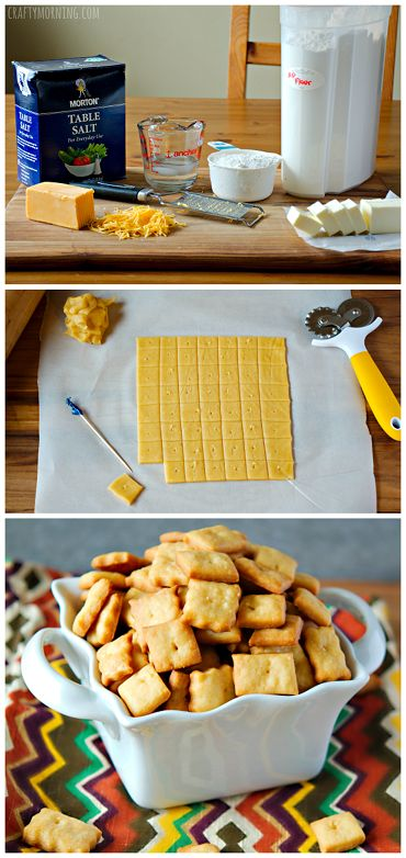 Homemade cheez-it crackers recipe - Great healthy snack for kids! Cheese snacks