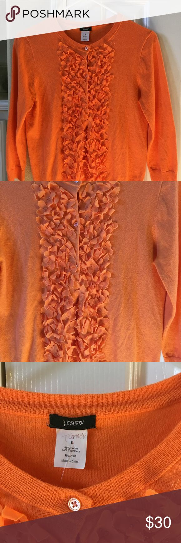 J.Crew orange pumpkin petals cardi size Small I really adore this petite cardigan but unfortunately it's too small for me. Good for this fall season J. Crew Sweaters Cardigans