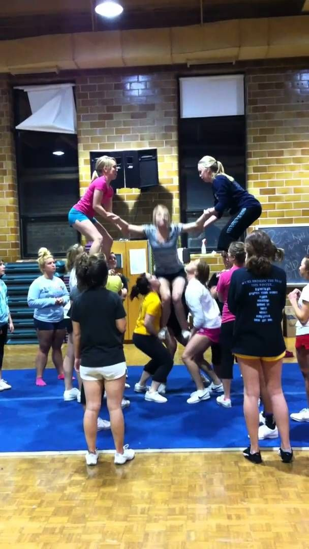UMD Cheer Back Tuck to High Split Stunt