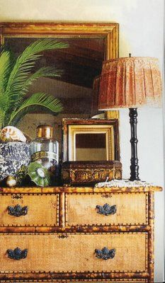 coastal vignette, adore the chic bamboo chest