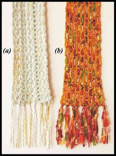 If you have fallen in love with a ribbon yarn, or have a few yards left over from another project, this is a good way to use it up. (Most scarves will need less than 25 yards.)