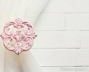 pink curtain holdbacks