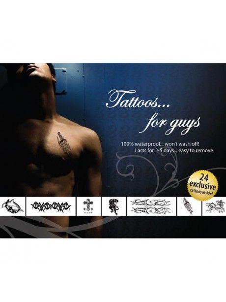 TATUTAJES PARA CHICOSTatuajes sexys para decorar el cuerpo.  Resistentes al agua. Duración de 2 a 5 días. Fáciles de eliminar. Paquete con 24 tatuajes exclusivos con motivos para chicos. PRECIO: 8,22€