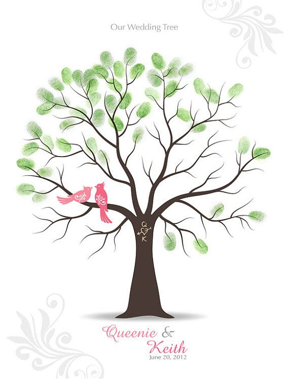 """For Mom & Dad's 50th Anniversary Party - Thumbprint Wedding Tree Guest Book Poster with Ink by TJLovePrints, $47.00 - 11""""x13"""" - One red bird w/crest one brown bird w/out crest - red, orange, and yellow stamps"""