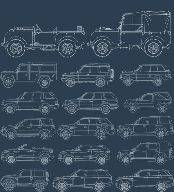 65 YEARS OF LAND ROVER - Illustrations by Dávid Baracka, via Behance
