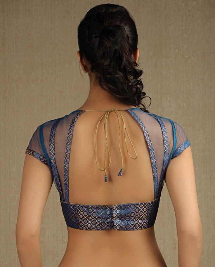 Sapphire Blue Brocade Blouse - love, love this - would be beautiful as back of bodice for a long flowing dress