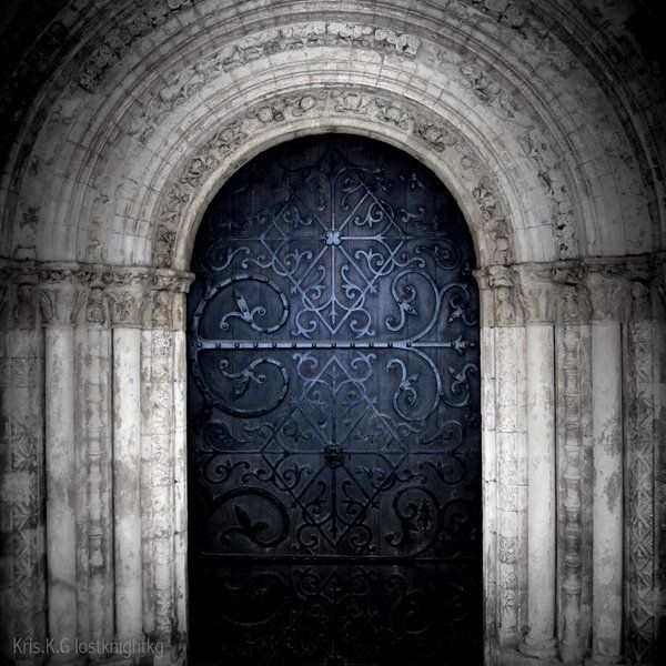 Door at the round entrance of Temple Church in London built in the 12th century by the Knight Templar