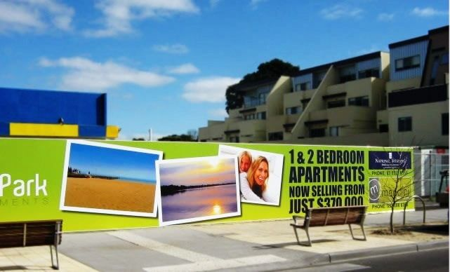 Hoarding banners to advertise real estate apartments.