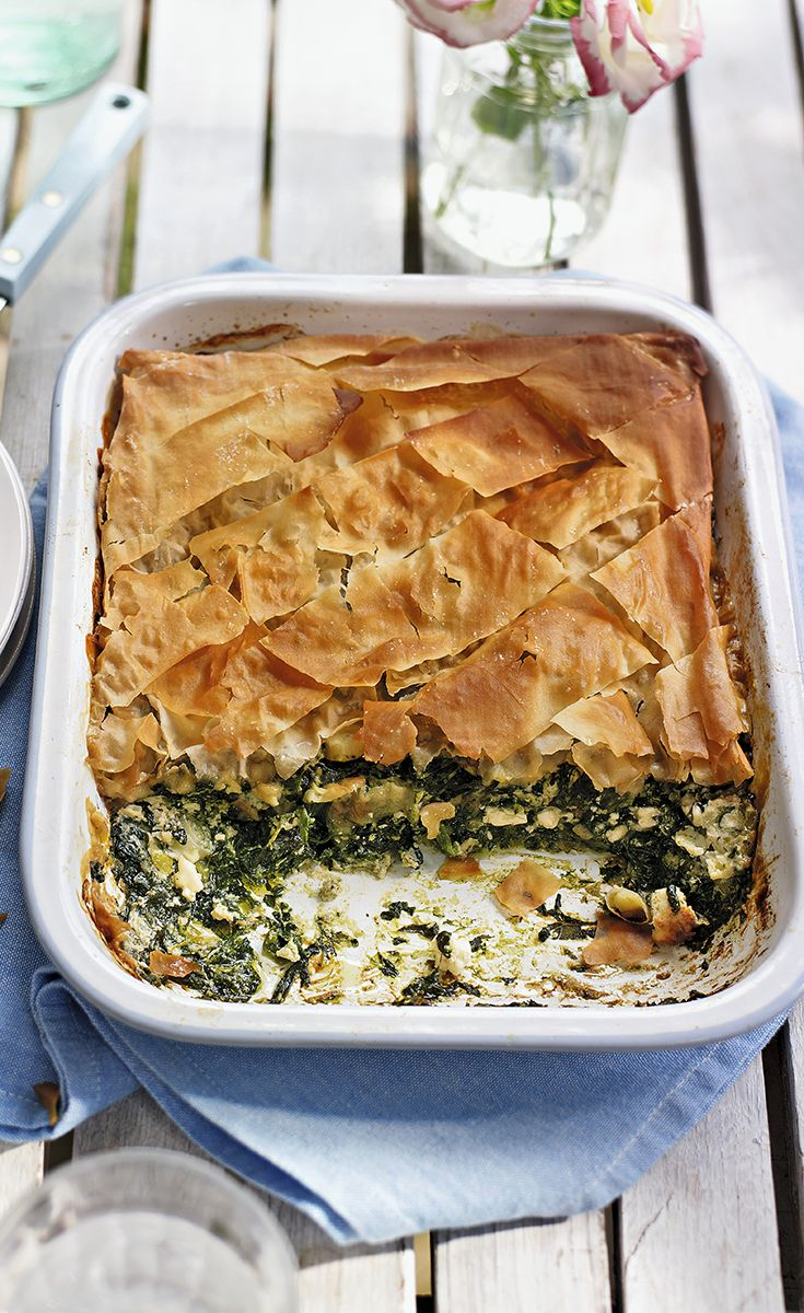 This Greek spinach and feta pie gives you two of your five a day and is also great source of iron. Find more healthy recipes on www.waitrose.com/recipes