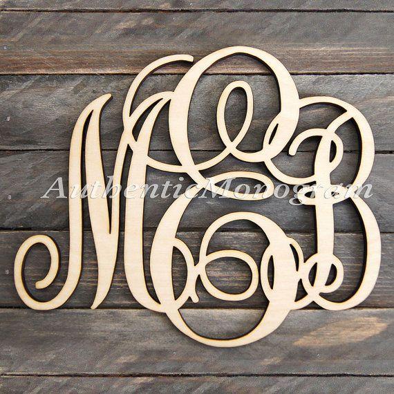 Monogramma in legno parete lettere non dipinto - monogramma di oggettistica per la casa - Wedding Decor Monogram - Door Hanger - vivaio monogramma, 1101 d