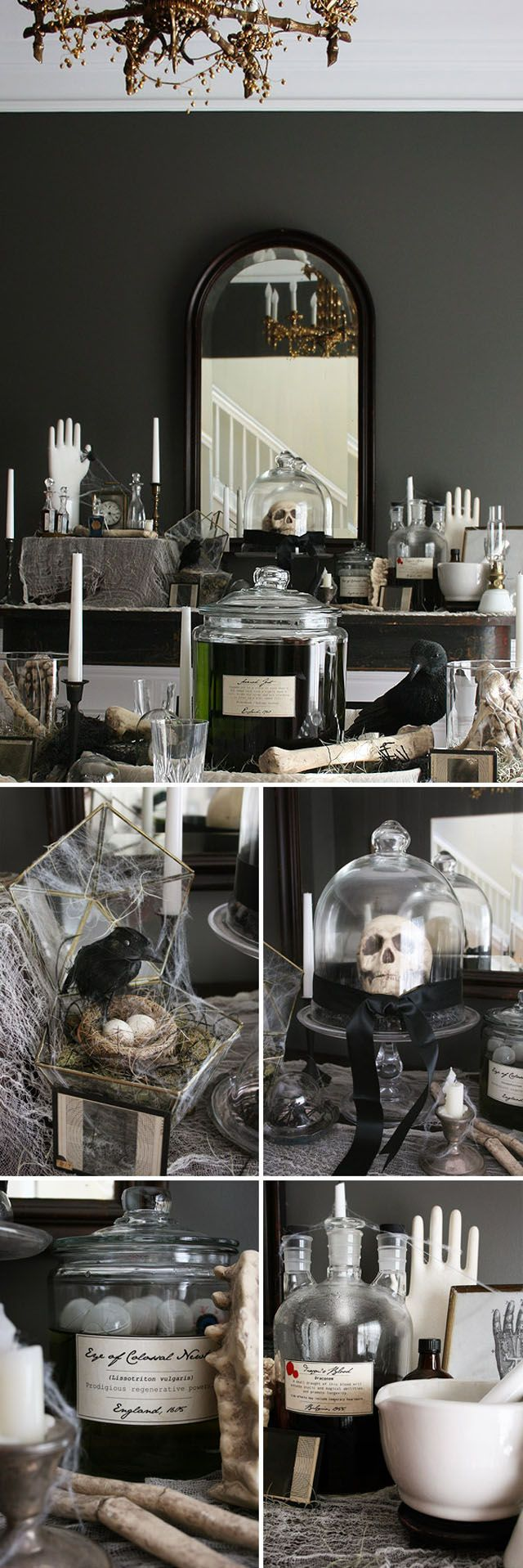 I'm always drawn to black and aged white Halloween decor. Classy and sinister feel to it!