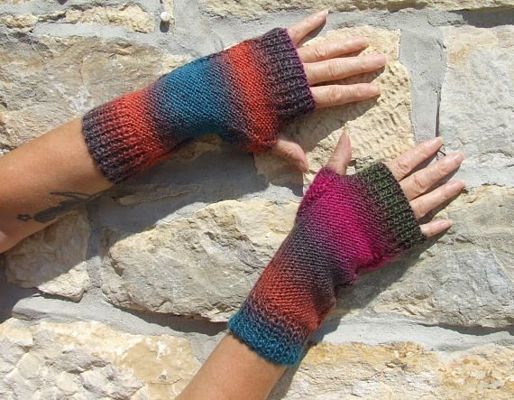 Ladies hand knitted fingerless gloves  multi colour knitted