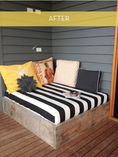 deck lounge-I would buy outdoor fabric and sew elastic around the edges like a fitted bed sheet and zippers on one side of the pillows so they could be removed and washed