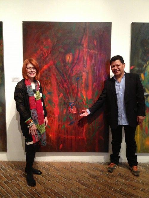 Sandra and Carlos Jacanamijoy at MAMBO, Museo de Arte Moderno de Bogota. Restrospectiva Exhibition 1992-2013, 'Magia, Memoria, Color'