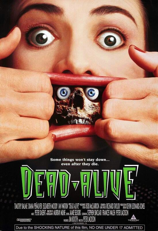 """""""Lionel is forced to care for his domineering mother. After she's bitten by the cursed Sumatran rat monkey, she becomes a zombie, making it very difficult for Lionel to keep the neighbors from suspecting something."""" Find DEAD ALIVE in our catalog: http://highlandpark.bibliocommons.com/item/show/1164001035_dead_alive"""