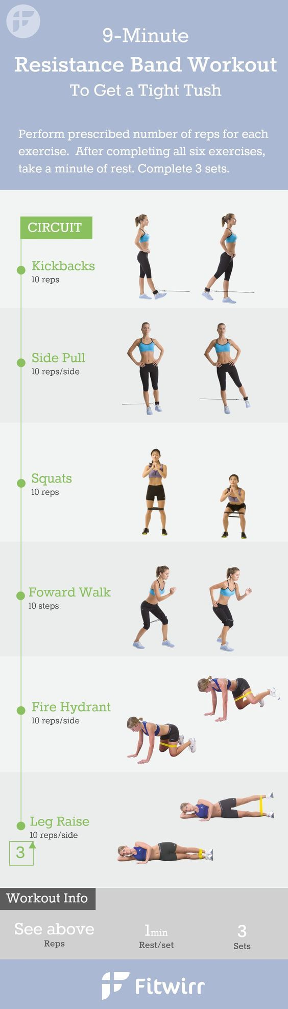 9-Minute Resistance Band Exercises for women. You don't have to lift heavy dumbbells or a medicine ball to get a great workout at home. Follow this 9 minute exercise band workouts to firm your butt, legs and inner thighs.