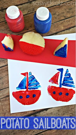 Sailboat Potato Stamping Craft for Kids - fun way to play and get more comfortable with foods #foodaversion #feedingtherapy