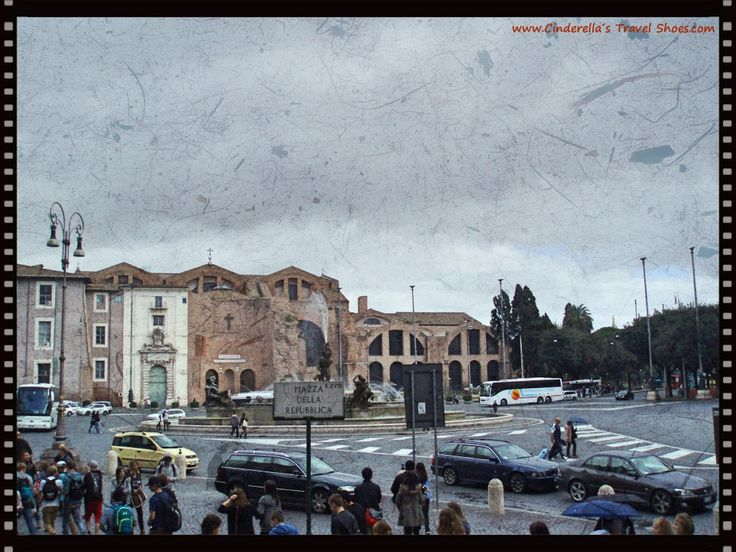 View to Basilica of St. Mary of the Angels and the Martyrs in Rome, Italy
