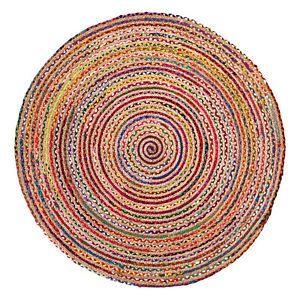 Rund Wohnzimmer Bunt Teppich MiaVILLA Evira Multicolor 100 Cm NEU