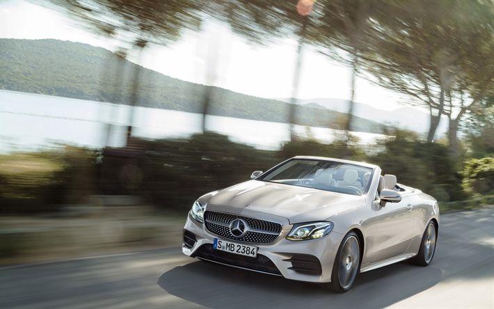 Download wallpapers 4k, Mercedes-Benz E400 Cabriolet, road, 2018 cars, motion blur, new E-class, german cars, Mercedes