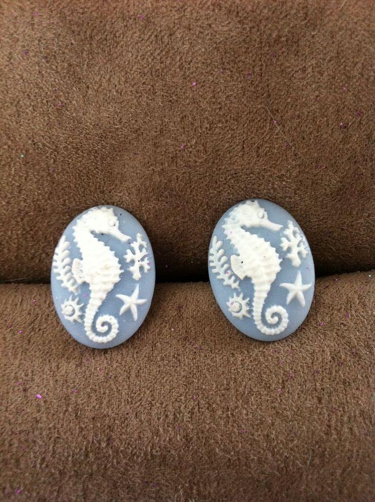 NEW Mens Womens seahorse cameo blue resin cufflinks steampunk gothic cuff links  #MsFormaldehyde